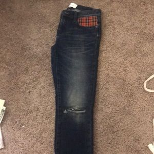 Current Elliot skinny jean with plaid insert.